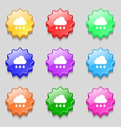 cloud rain icon sign symbol on nine wavy colourful vector image