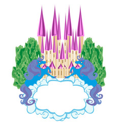 fairytale frame with magic castle and unicorns vector image vector image