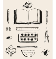 Set School office supplies top view Open book vector image vector image