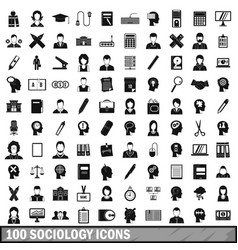 100 sociology icons set simple style vector image