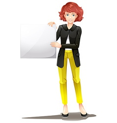 A woman with an empty board vector image
