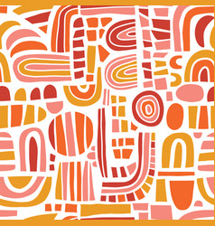 abstract mosaic shapes pink orange red seamless vector image