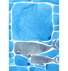 Abstract whale swimming under sea vector