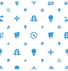 Adventure icons pattern seamless white background vector