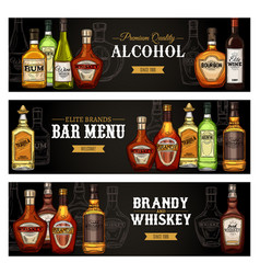 Alcohol drinks bottles bar menu banners vector