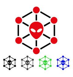 Alien network flat icon vector