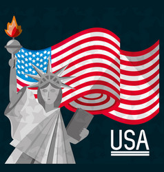 American flag and statue of liberty vector