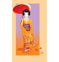 Autumn geisha vector