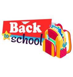 Back to school rucksack with books and textbooks vector