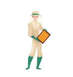 Beekeeper in protective gear holding honeycomb vector image