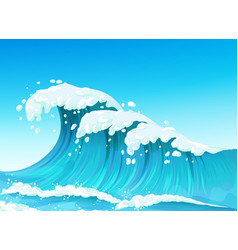 Big sea or ocean wave with splashes and white foam vector