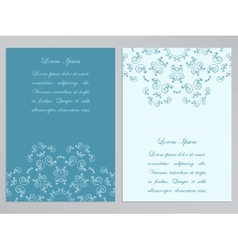 Blue and white flyers with ornate floral pattern vector image