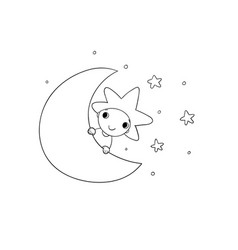 Boy is the star and the moon vector
