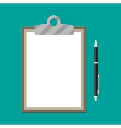 Brown clipboard with empty white paper and pen vector image