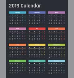calendar for 2019 starts monday vector image