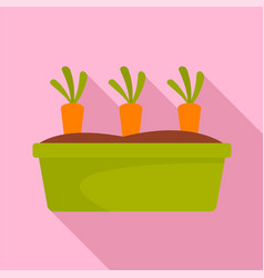 carrots in garden icon flat style vector image