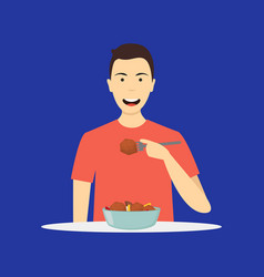 cartoon character person eating meal on a blue vector image