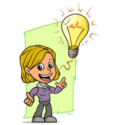 Cartoon girl character with idea lightning bulb vector