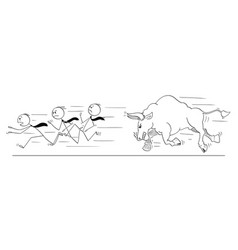 Cartoon of group of businessmen running away from vector