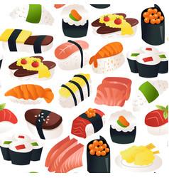 Cartoon sushi sashimi seamless pattern background vector
