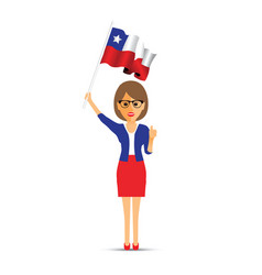 chile flag waving woman vector image