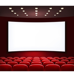 Cinema with white screen and seats vector image