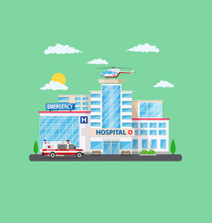 clinic building with ambulance helicopter and car vector image
