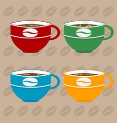 coffee cups over coffee beans background vector image