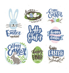 Collection of easter letterings handwritten with vector