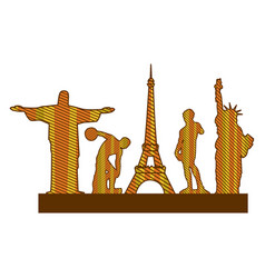 color silhouette of set of the world landmark vector image
