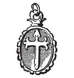 cross and locket pendant cross vintage engraving vector image