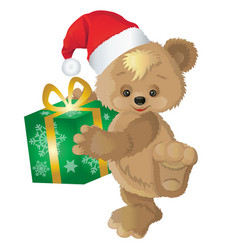 cute bear with new years gift in a box vector image