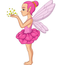 cute fairy cartoon blows stars vector image