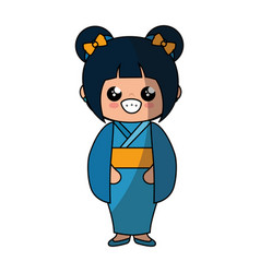Cute japanese girl cartoon vector