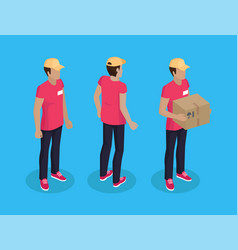 Delivery man with parcel set vector