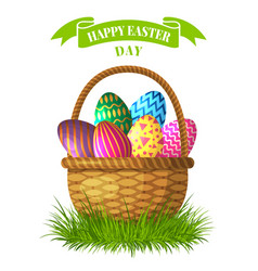 easter concept basket with colored vector image