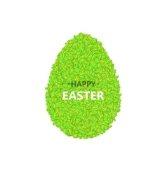 egg with leaves on a white vector image