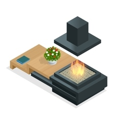 Fireplace modern design Flat 3d isometric vector image