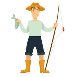 fisherman with fishing rod and fish in hat and vector image