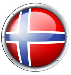 flag of norway on round badge vector image