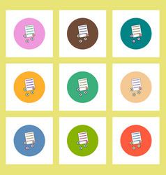 Flat icons set of get money for paper contract vector