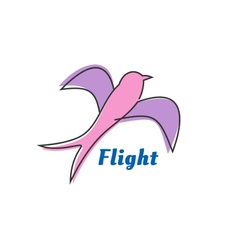Flying swallow or swift pink silhouette vector image