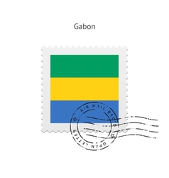Gabon Flag Postage Stamp vector
