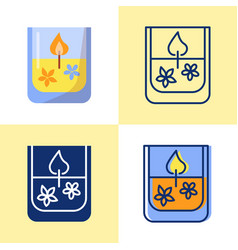 gel candle icon set in flat and line style vector image