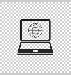 globe on screen of laptop icon isolated vector image