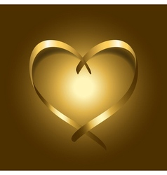 Gold silk ribbon heart vector