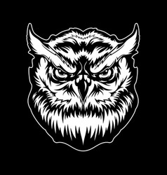 great horned owl bird angry monochrome face vector image