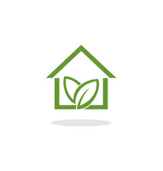 green home with leaf logo vector image