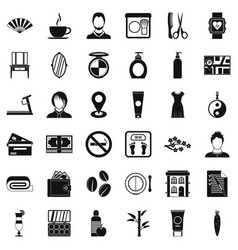 hair tool icons set simple style vector image