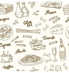 hand drawn seamless pattern with italian vector image